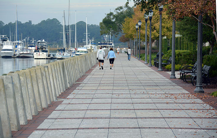 The Beaufort SC waterfront boardwalk