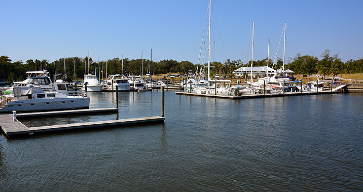 Boats docked at Deep Point Marina