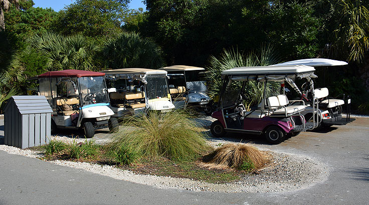 Golf cart parking at Maritime Market on Bald Head Island, NC