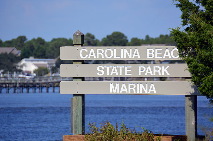 Carolina Beach State Park marina sign