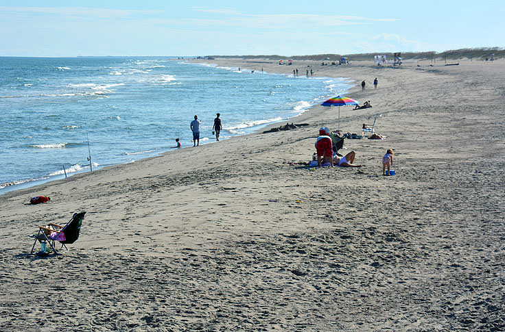 The beach at Fort Fisher State Recreation Area