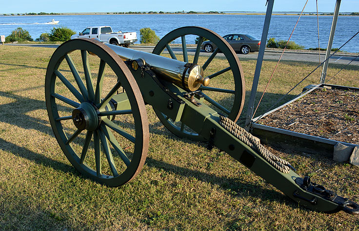 An antique cannon at Waterfront Park in Southport, NC