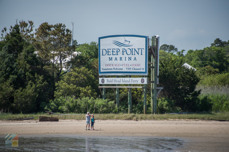 The marina sign from Cape Fear River in Southport, NC